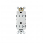 20 Amp Tamper and Weather Resistant Commercial Grade Decorator Receptacle, White