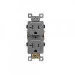 20 Amp Tamper Resistant Industrial Grade Duplex Receptacle, Gray