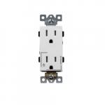 15 Amp Tamper Resistant Half Controlled Decorator Duplex Receptacle, White