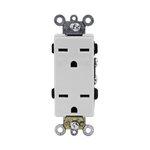 White Industrial Grade Decorator 15A High Voltage Duplex Receptacle