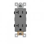 20 Amp Tamper Resistant Industrial Grade Decorator Duplex Receptacle, Gray