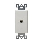 White Molded-In Voice and Audio/Video RJ11 Jack Wall Outlet