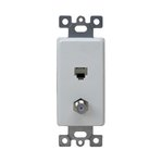 White Molded-In Voice and Audio/Video RJ11 F-Type Combination Wall Jack