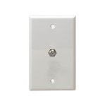 White Telephone and CATV 1-Gang F-type Connector Wall Jack