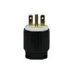 Black Industrial Grade Straight Blade 15A High Voltage Plug