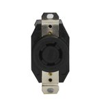 Black Industrial Grade 20A 3-Pole Locking High Voltage Receptacle
