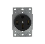 Black 50A Industrial Grade Flush Mount Receptacle