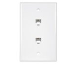 Almond Telephone 1-Gang Two Modular Duplex RJ11 Wall Jacks