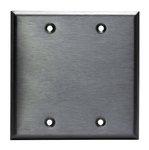 Stainless Steel 2-Gang Blank Metal Wall Mounted Plate
