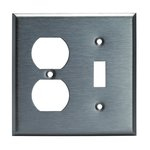Stainless Steel Combination 2-Gang Duplex Receptacle & Toggle Wall Plate
