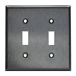 Mid-Size Stainless Steel 2-Gang Toggle Metal Wall Plate