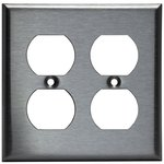 Stainless Steel 2-Gang Duplex Receptacle Metal Wall Plate