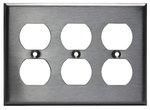 Stainless Steel 3-Gang Duplex Receptacle Metal Wall Plate