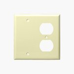 Ivory Combination Two Gang Blank and Duplex Receptacle Plastic Wall Plates