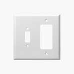 White Combination Mid-Size Two Gang Toggle and GFCI Plastic Wall Plates
