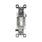 Clear Single-Pole Lighted Push-In and Side Wired 15A Toggle Switches