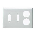 Almond 3-Gang 2-Toggle and Duplex Receptacles Plastic Wall Plates