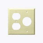 Ivory 2-Gang Duplex & Single Receptacle Combo Plastic Wall Plate