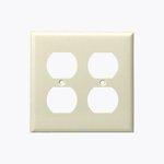 Light Almond 3-Gang Duplex Receptacle Plastic Wall Plates