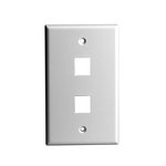 White Colored 1-Gang 2-Port Multimedia Face Plates