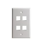 White Colored 1-Gang 4-Port Multimedia Face Plates