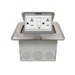 1-Gang Pop-up GFCI Duplex Floor Box, Square, 20A, 125V, Nickel