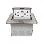 1-Gang Pop-up USB Duplex, Floor Box, Square, 20A, 125V, Nickel