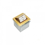 1-Gang Soft Pop-up GCFI Floor Box, Square, 20A, 125V, Brass