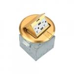 1-Gang Pop-up USB Duplex Floor Box, Round, 20A, 125V, Brass