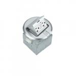 1-Gang Pop-up GFCI Duplex Floor Box, Round, 20A, 125V, Nickel