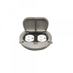 Brass Flush Round Flip Lid Cover Plate with 20A TRWR Duplex GFCI