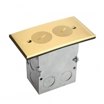 Brass 1-Gang Floor Box, 20 Amp Tamper/Weather Resistant Duplex Outlet