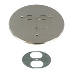 5-3/4 Inch Dia. Round Flip Cover Plate with 20A TRWR Duplex Receptacle, Nickel