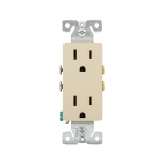 15 Amp Auto-Grounding NEMA 5-15R Duplex Decorator Receptacle Outlet, Ivory