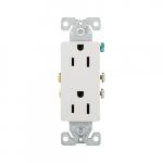 15 Amp Auto-Grounding NEMA 5-15R Duplex Decorator Receptacle Outlet, White