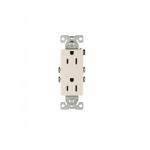 15 Amp Decorator Duplex Receptacle, 2-Pole, 3-Wire, #14-10 AWG, 125V, Light Almond