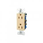 15 Amp Decorator Duplex Receptacle, 2-Pole, 3-Wire, #14-10 AWG, 125V, Ivory