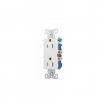 15 Amp Duplex Receptacle, 2-Pole, 3 Wire, 125V, #14-10 AWG, White, 10 Pack