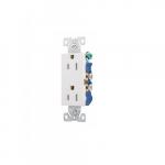 15 Amp Decorator Duplex Receptacle, 2-Pole, 3-Wire, #14-10 AWG, 125V, White