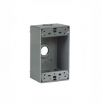 1-Gang FS Electrical Box, 3 Holes, Weatherproof, Cast Aluminum