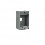 "1-Gang Weatherproof FS Box, 2-2 End, 5-Hole 0.75"" Diameter, Cast Aluminum"