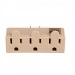 125V 3 Outlet Tap, Single Receptacle, Ivory