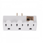125V 3 Outlet Tap, Single Receptacle, White