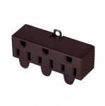 15 Amp Three Outlet Adapter, Swivel, Brown