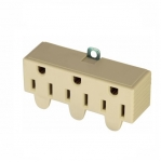 15 Amp Three Outlet Adapter, Swivel, Ivory