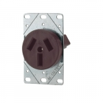 50 Amp Straight Blade Power Device Receptacle, 3-Pole, 3-Wire, #12-4 AWG, 250V, Brown