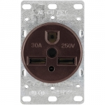 30 Amp NEMA 6-30R 250V Heavy Duty Flush Mount Power Receptacle