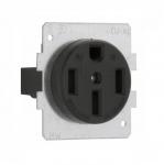 50 Amp Power Receptacle, NEMA 14-50R, 3 Pole/4 Wire, Black