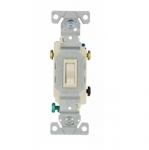 15 Amp Single Pole Toggle Switch, Auto Ground, Residential, Almond