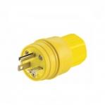 20 Amp Watertight Plug, NEMA 6-20P, Yellow